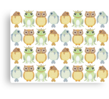 Owls Fish Frogs  Canvas Print