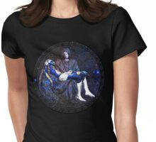 Earth Pietà (Michelangelo) Through Notre Dame Stained Glass Rosette. Womens Fitted T-Shirt