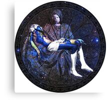 Earth Pietà (Michelangelo) Through Notre Dame Stained Glass Rosette. Canvas Print