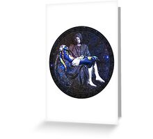 Earth Pietà (Michelangelo) Through Notre Dame Stained Glass Rosette. Greeting Card