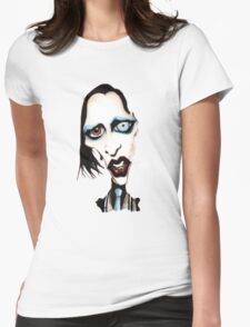 Marilyn Manson Caricature Womens Fitted T-Shirt