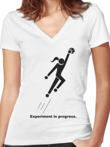 Experiment In Progress - Basketball Women's Fitted V-Neck T-Shirt