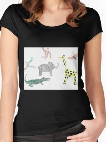 Zoo animals pattern Women's Fitted Scoop T-Shirt