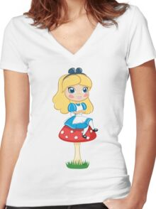 Alice in Wonderland Sitting on Mushroom Illustration Women's Fitted V-Neck T-Shirt