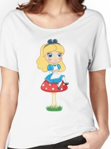Alice in Wonderland Sitting on Mushroom Illustration Women's Relaxed Fit T-Shirt