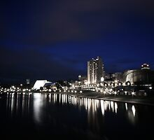 The Torrens River at night  by Jamie  Druitt