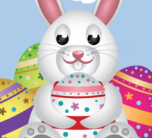 White bunny with Easter eggs 2 Sticker