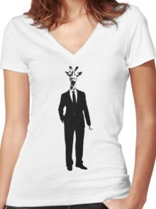 Business Giraffe Pirate (Hook Hand) Illustration Women's Fitted V-Neck T-Shirt