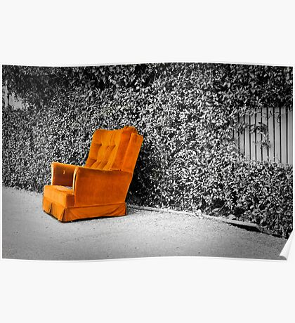 Orange armchair Poster