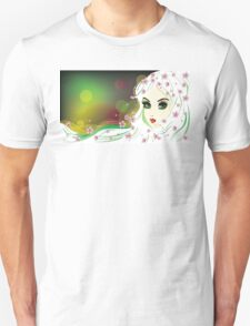 Floral Girl with White Hair Unisex T-Shirt