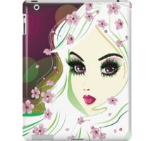 Floral Girl with White Hair 2 iPad Case/Skin