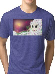 Floral Girl with White Hair 2 Tri-blend T-Shirt