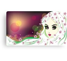 Floral Girl with White Hair 2 Canvas Print