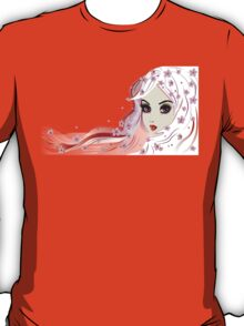 Floral Girl with White Hair 3 T-Shirt
