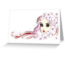 Floral Girl with White Hair 3 Greeting Card
