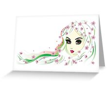 Floral Girl with White Hair 4 Greeting Card