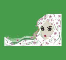 Floral Girl with White Hair 4 One Piece - Short Sleeve