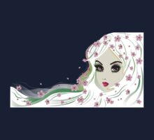 Floral Girl with White Hair 4 Kids Tee