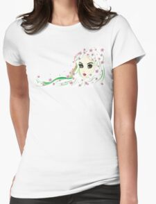 Floral Girl with White Hair 4 Womens Fitted T-Shirt