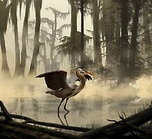 Great Blue Heron by Jeff Powers Illustration