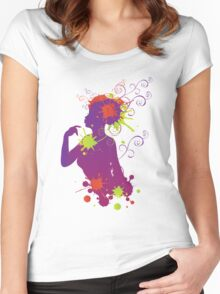 Female silhouette with swirls Women's Fitted Scoop T-Shirt