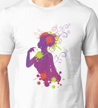 Female silhouette with swirls Unisex T-Shirt