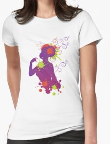 Female silhouette with swirls Womens Fitted T-Shirt