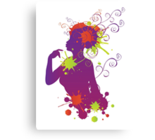 Female silhouette with swirls Canvas Print