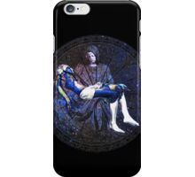 Earth Pietà (Michelangelo) Through Notre Dame Stained Glass Rosette. iPhone Case/Skin