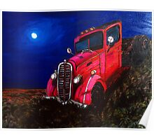 Red Rusty Vintage Truck Poster