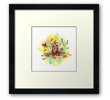 Kitty cat playing in a pile of leaves. Autumn Framed Print