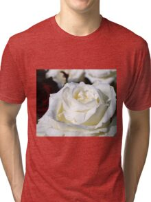 Close up of white rose 17 Tri-blend T-Shirt