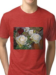 White Rose in the Garden 15 Tri-blend T-Shirt