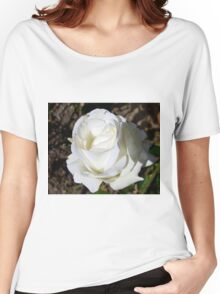 Close up of white rose 18 Women's Relaxed Fit T-Shirt