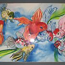 Fancy Goldfish watercolour painting by coolart