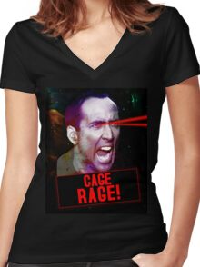 Nicolas Cage Rage! Women's Fitted V-Neck T-Shirt