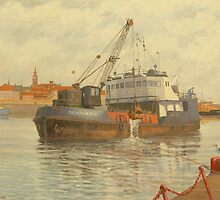 Dredger at Work by stragglydan