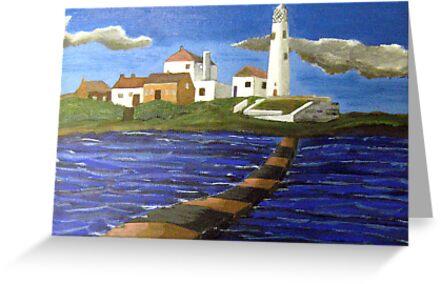 244 - STYLISED ST. MARY'S ISLAND, WHITLEY BAY - DAVE EDWARDS - ACRYLIC - 2009 by BLYTHART