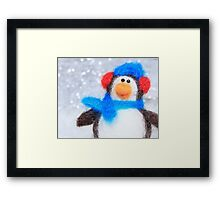Cute Winter Penguin Funny Holiday Art Framed Print