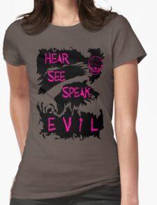 Hear See Speak evil Purple Text Womens Fitted T-Shirt