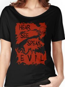Hear See Speak evil Red Women's Relaxed Fit T-Shirt