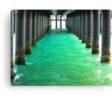 Peering Beneath the Pier Canvas Print