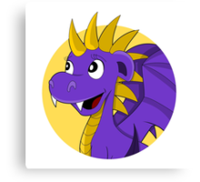 Purple dragon cartoon Canvas Print