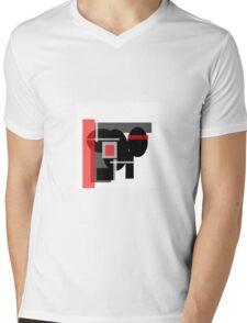 RED, WHITE, GREY & BLACK ABSTRACT Mens V-Neck T-Shirt