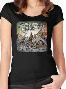Expanded Perspectives Podcast aliens bigfoot conspiracies big foot sasquatch pyramids ancient america history cryptid crypto monster illuminati egypt Women's Fitted Scoop T-Shirt