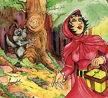Red Riding Hood in the Woods by JohnnyGolden