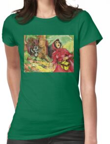 Red Riding Hood in the Woods Womens Fitted T-Shirt
