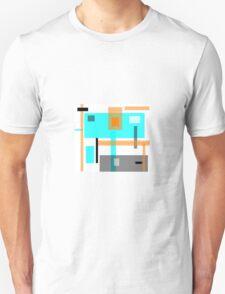 block art, ABSTRACT, aquamarine, grey and tan Unisex T-Shirt