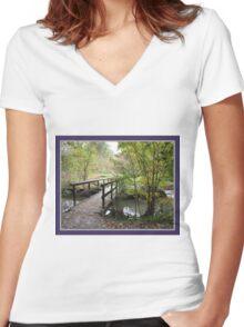 Bridge over creek Women's Fitted V-Neck T-Shirt