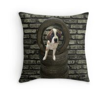 SOMETIME ONE TIRES OF THE OBSTACLES WE GO THROUGH IN LIFE...SAINT BERNARD PUPPY..PILLOWS,TOTE BAGS,SAMSUNG CASES,ECT Throw Pillow